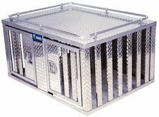 "UWS DB-4848 48"" X 48"" Aluminum Dog Box Double Door with Divider"