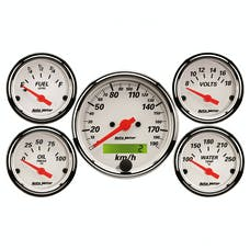 AutoMeter Products 1302-M Arctic White 5 Piece Kit w/ programmable km/h speedo