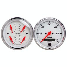AutoMeter Products 1308 Artic White Quad Gauge/Speedo Kit 3-3/8in
