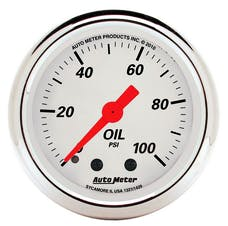 """AutoMeter Products 1321 2"""" Oil Pressure, 0-100 PSI, Mech, Arctic White"""