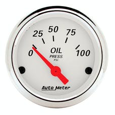 AutoMeter Products 1327 Arctic White Series Oil Pressure Gauge (0-100 PSI, 2-1/16 in.)