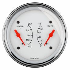 "AutoMeter Products 1330 3-3/8"" Dual, Water Temperature Guage, 100-250, VOLT, 8-18"