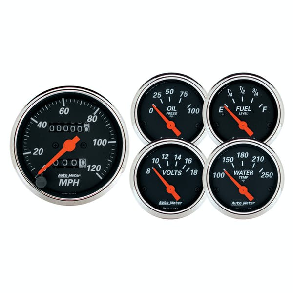 AutoMeter Products 1420 Designer Black 5 piece Kit - Box with Mechanical Speedo