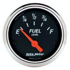 AutoMeter Products 1424 Designer Black Fuel Level Gauge 2-1/16in 240 E/33F use w/sender 3262 Chrome