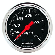 """AutoMeter Products 1432 2"""" Water Temperature Guage, 120-240`F Mechanical, Designer Black"""