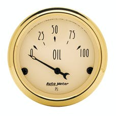 AutoMeter Products 1528 Gauge; Oil Press; 2 1/16in.; 100psi; Elec; Golden Oldies