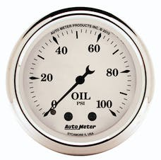 AutoMeter Products 1621 Gauge; Oil Press; 2 1/16in.; 100psi; Mech; Old Tyme White