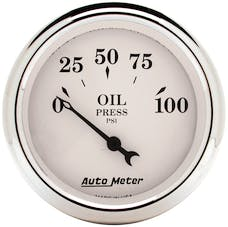 AutoMeter Products 1628 Gauge; Oil Press; 2 1/16in.; 100psi; Elec; Old Tyme White