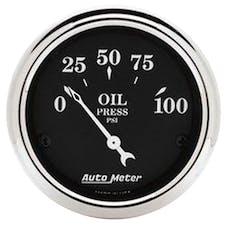 AutoMeter Products 1727 Old Tyme Black Series Oil Pressure Gauge (0-100 PSI, 2-1/16 in.)