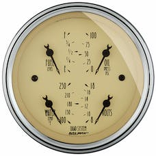 AutoMeter Products 1812 Gauge; Quad; 3 3/8in.; 240OE-33OF; Elec; Antique Beige
