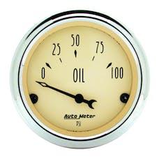 AutoMeter Products 1827 Gauge; Oil Press; 2 1/16in.; 100psi; Elec; Antique Beige