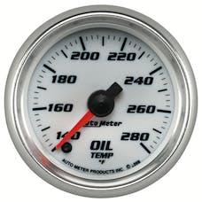 "AutoMeter Products 19740 Oil Temperature Gauge, White-Pro Cycle 2 1/16"", 140-280Γö¼ΓòæF Digital Stepper M"