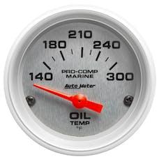 """AutoMeter Products 200764-33 Oil Temperature Gauge, Electric-Marine Silver  2 1/16"""", 140-300Γö¼ΓòæF"""