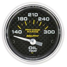 """AutoMeter Products 200764-40 Oil Temperature Gauge, Electric-Marine Carbon Fiber 2 1/16"""", 140-300Γö¼ΓòæF"""