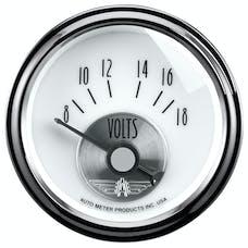 AutoMeter Products 2094 Gauge; Voltmeter; 2 1/16in.; 18V; Elec; Prestige Pearl