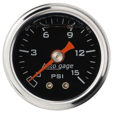 AutoMeter Products 2172 Auto Gage Series Dampened-Movement Pressure Gauge (Black, 0-15 PSI, 1-1/2 in.)