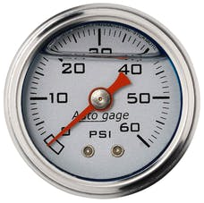 AutoMeter Products 2179 Auto Gage Series Dampened-Movement Pressure Gauge (Silver, 0-60 PSI, 1-1/2 in.)