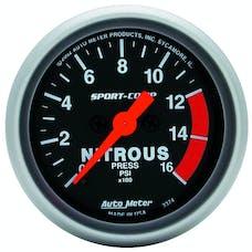 AutoMeter Products 3374 Gauge; Nitrous Pressure; 2 1/16in.; 1600psi; Digital Stepper Motor; Sport-Comp
