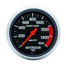 AutoMeter Products 3574 Gauge; Nitrous Press; 2 5/8in.; 1600psi; Digital Stepper Motor; Sport-Comp