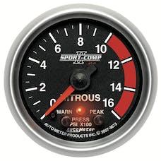AutoMeter Products 3673 Gauge; Nitrous Press; 2 1/16in.; 1600psi; Stepper Motor w/Peak/Warn; Sport-Comp
