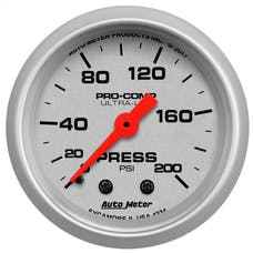 """AutoMeter Products 4334 Air Pressure Gauge 2 1/16"""", 200psi, Mechanical, Ultra-Lite"""
