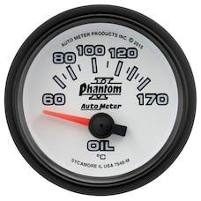 AutoMeter Products 7548-M GAUGE; OIL TEMP; 2 1/16in.; 60-170deg.F; ELECTRIC; PHANTOM II