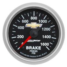 """AutoMeter Products 880450 2-1/16"""" Brake Press, 0- 1600 PSI, FSE, GM, COPO Camaro"""