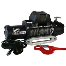 Bulldog Winch 10045 9500lb Winch w/5.5hp Series Wound, 100ft Synthetic Rope, Aluminum Frld