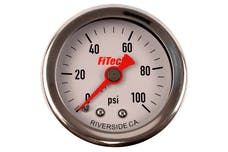 FiTech 80117 Fuel Pressure Gauge 0-100 PSI Oil Filled