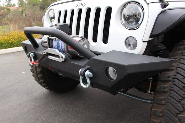 Iconic Accessories 232-5001 Textured Black Full Front Bumper w/Winch Plate
