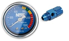 NOS 15950NOS Gauge,N2O,Blue with AN8 Adapter, Dry