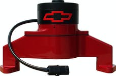 PROFORM 141-672 Electric Engine Water Pump; Aluminum; Red with Bowtie Logo; Fits BB Chevy