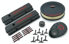 PROFORM 141-758 Engine Dress-Up Kit; Black Crinkle Finish; Red Bowtie; Red Letters; For SB Chevy