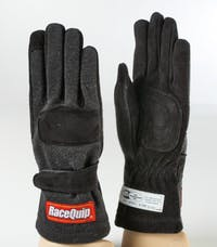 Racequip 355001 SFI-5 Double-Layer Racing Gloves (Black, X-Small)