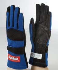 Racequip 355026 SFI-5 Double-Layer Racing Gloves (Blue, X-Large)