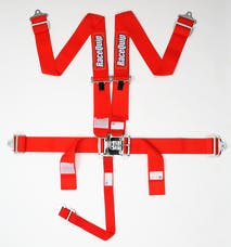 Racequip 711011 SFI 16.1 Latch & Link 5-Point Racing Harness Set (Red)