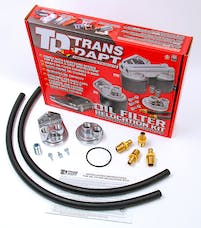 "Trans Dapt Performance 1122 Single Remote Oil Filter System; 3-3/16"" ID; 3-7/16"" OD Flange; 13/16""-16 Thread"