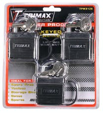 Trimax TPW3125 3 Pack Of Keyed -Alike Tpw1125 Weather Proof Padlocks