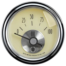AutoMeter Products 2027 GAUGE; OIL PRESS; 2 1/16in.; 100PSI; ELEC; PRESTIGE ANTQ. IVORY
