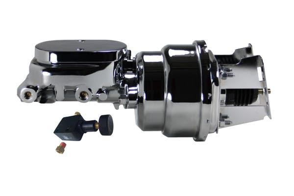 LEED Brakes 4T605 7 in Dual Power Booster ,1-1/8in Bore, Adj Prop Valve (Chrome)