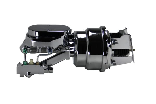 LEED Brakes 4T6B2 7 in Dual Power Booster ,1-1/8in Bore, side valve disc/drum (Chrome)