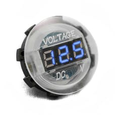 Race Sport Lighting RS4011WB White Digital Volt Meter Round Gauge with Blue LED Lighting