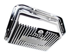 Trans Dapt Performance 9122 TH350-CHROME Transmission Pan; Stock Capacity; Stock Depth; FINNED Bottom