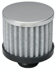 """Trans Dapt Performance 9308 3"""" Tall """"PUSH-IN"""" Style Breather; Open Cotton Filter Element; 1-1/4"""" Hole-CHROME"""