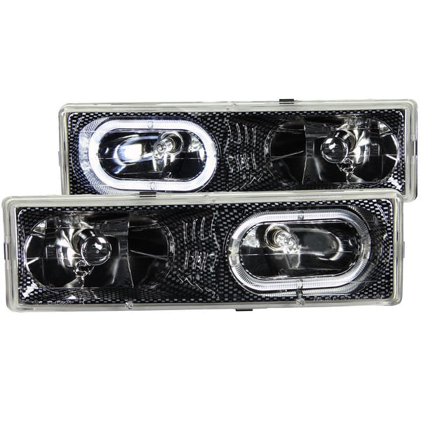 AnzoUSA 111005 Crystal Headlights Carbon with Halo