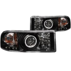 AnzoUSA 111065 Projector Headlights with Halo Black
