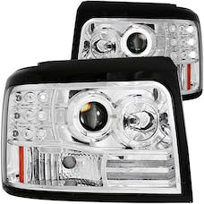 AnzoUSA 111183 Projector Headlights with Halo Chrome with Side Markers & Parking Lights