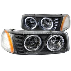 AnzoUSA 111207 Crystal Headlights with Halo & LED Black