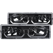 AnzoUSA 111299 Crystal Headlights Black with Low - Brow