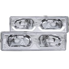 AnzoUSA 111300 Crystal Headlights Chrome with Low - Brow